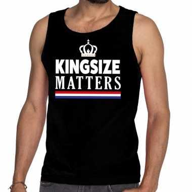 Zwart koningsdag kingsize matters t shirt zonder mouw heren