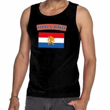 Zwart nederlandse vlag holland mouwloos shirt heren zonder