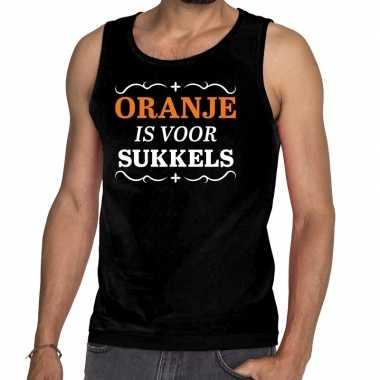 Zwart oranje is sukkels mouwloos shirt heren zonder