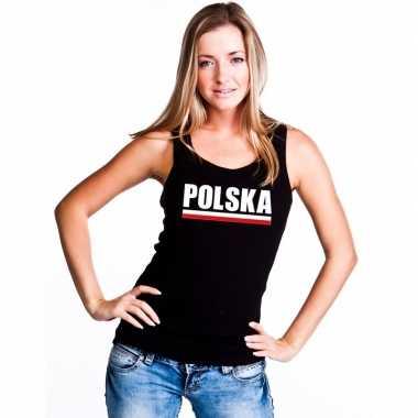 Zwart polen supporter singlet shirt/ t shirt zonder mouw dames