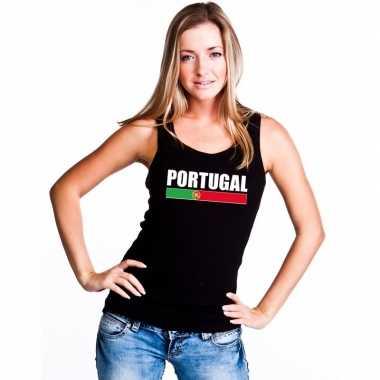 Zwart portugal supporter singlet shirt/ t shirt zonder mouw dames