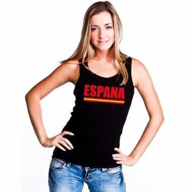 Zwart spanje supporter singlet shirt/ t shirt zonder mouw dames