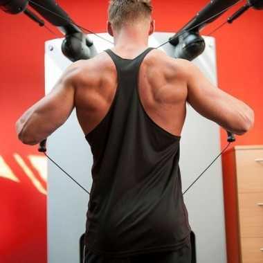 Zwart sport/fitness shirt/t shirt zonder mouw heren