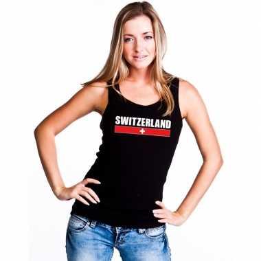 Zwart zwitserland supporter singlet shirt/ t shirt zonder mouw dames