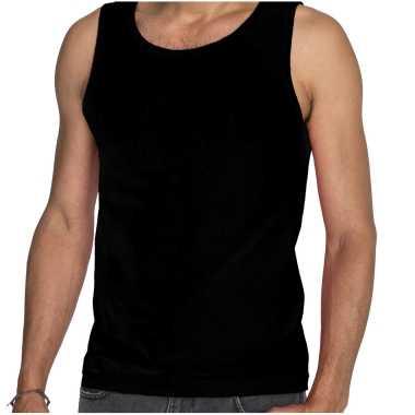 Zwarte t shirt zonder mouw / hemdje / singlet heren fruit of the loom