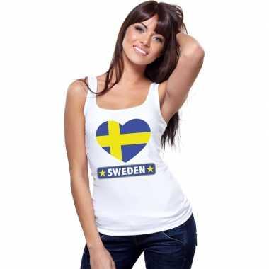 Zweden hart vlag singlet shirt/ t shirt zonder mouw wit dames