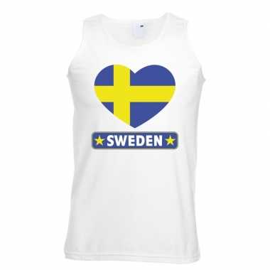 Zweden hart vlag singlet shirt/ t shirt zonder mouw wit heren