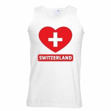 Zwitserland hart vlag singlet shirt/ t shirt zonder mouw wit heren