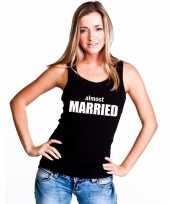 Almost married tekst singlet-shirt t-shirt zonder mouw zwart dames