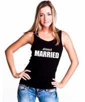 Almost married tekst singlet shirt t shirt zonder mouw zwart dames