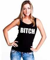 Bitch tekst singlet shirt t shirt zonder mouw zwart dames