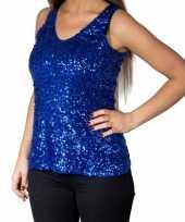 Blauwe glitter pailletten disco topje mouwloos shirt dames zonder