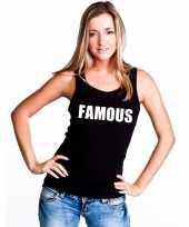 Famous tekst singlet shirt t shirt zonder mouw zwart dames