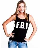 Fbi tekst singlet-shirt t-shirt zonder mouw zwart dames
