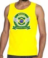 Geel brazil drinking team t-shirt zonder mouw mouwloos shirt heren