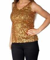 Gouden glitter pailletten disco topje mouwloos shirt dames zonder