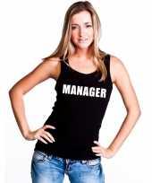 Manager tekst singlet shirt t shirt zonder mouw zwart dames