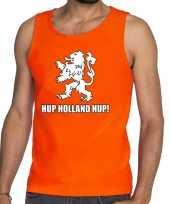 Nederland supporter t-shirt zonder mouw hup holland hup oranje heren