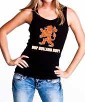 Nederland supporter t-shirt zonder mouw hup holland hup zwart dames