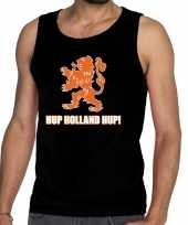 Nederland supporter t-shirt zonder mouw hup holland hup zwart heren