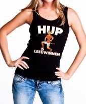 Nederland supporter t-shirt zonder mouw hup leeuwinnen zwart dames 10151682
