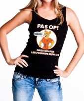 Nederland supporter t-shirt zonder mouw leeuwinnen zijn los zwart dames