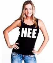 Nee tekst singlet shirt t shirt zonder mouw zwart dames