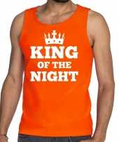 Oranje king of the night t-shirt zonder mouw mouwloos shirt heren