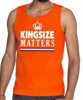 Oranje koningsdag kingsize matters t-shirt zonder mouw heren