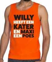 Oranje koningsdag maxi heeft een poes t shirt zonder mouw heren