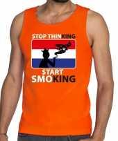 Oranje stop thinking start smoking t shirt zonder mouw mouwloos shirt here
