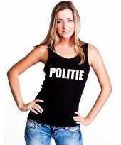 Politie tekst singlet-shirt t-shirt zonder mouw zwart dames