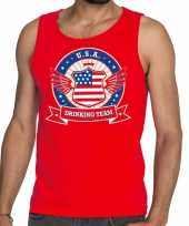 Rood usa drinking team t-shirt zonder mouw mouwloos shirt heren