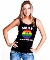 Smile if you are gay emoticon t shirt zonder mouw singlet shirt zwart dames