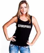 Stoeipoes tekst singlet shirt t shirt zonder mouw zwart dames