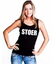 Stoer tekst singlet shirt t shirt zonder mouw zwart dames