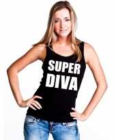 Super diva tekst singlet shirt t shirt zonder mouw zwart dames