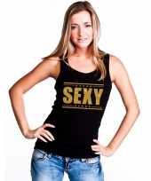 Toppers sexy t-shirt zonder mouw mouwloos shirt zwart gouden glitters dames