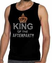 Toppers zwart toppers king of the afterparty glitter t-shirt zonder mouw shirt heren