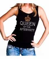 Toppers zwart toppers queen of the afterparty glitter t-shirt zonder mouw dames