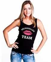 Vrijgezellenfeest team singlet-shirt t-shirt zonder mouw zwart dames