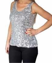Zilveren glitter pailletten disco topje mouwloos shirt dames zonder
