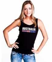 Zwart australie supporter singlet-shirt t-shirt zonder mouw dames