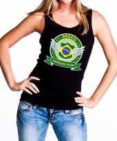 Zwart brazil drinking team t-shirt zonder mouw mouwloos shirt dames