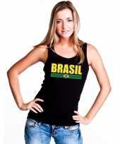 Zwart brazilie supporter singlet-shirt t-shirt zonder mouw dames