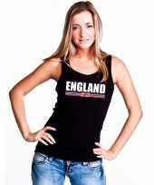 Zwart engeland supporter singlet shirt t shirt zonder mouw dames