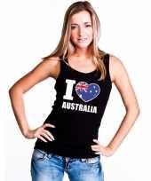 Zwart i love australie fan singlet-shirt t-shirt zonder mouw dames
