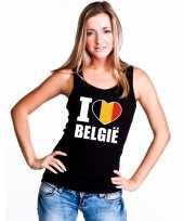 Zwart i love belgie fan singlet-shirt t-shirt zonder mouw dames