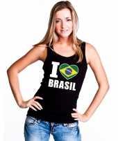Zwart i love brazilie fan singlet-shirt t-shirt zonder mouw dames