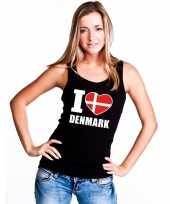 Zwart i love denemarken fan singlet-shirt t-shirt zonder mouw dames